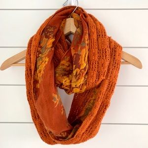 Xhilaration infinity scarf orange + floral